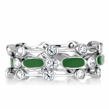 Loraine's CZ & Enamel Eternity Ring Trio - Green