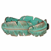 Lori's Turquoise Patina Stretchable Feather Bracelet