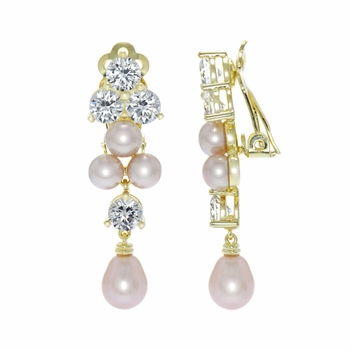 Louisa's Fancy Pink Imitation Pearl and CZ Clip On Earrings