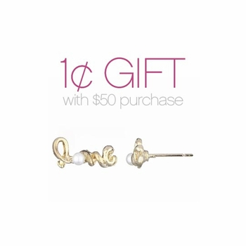 Love Goldtone Stud Earrings: Spend $50 or more Pay One Cent