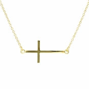 Lucinda's Sideways Cross Necklace - Goldtone
