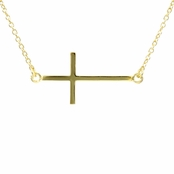 Lucinda's Sideways Cross Necklace - Gold Tone