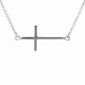Lucinda's Sideways Cross Necklace - Silver Tone