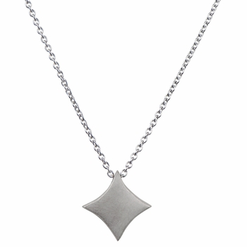 Lucky Vegas Charm Necklace - Diamond - Silvertone Matte
