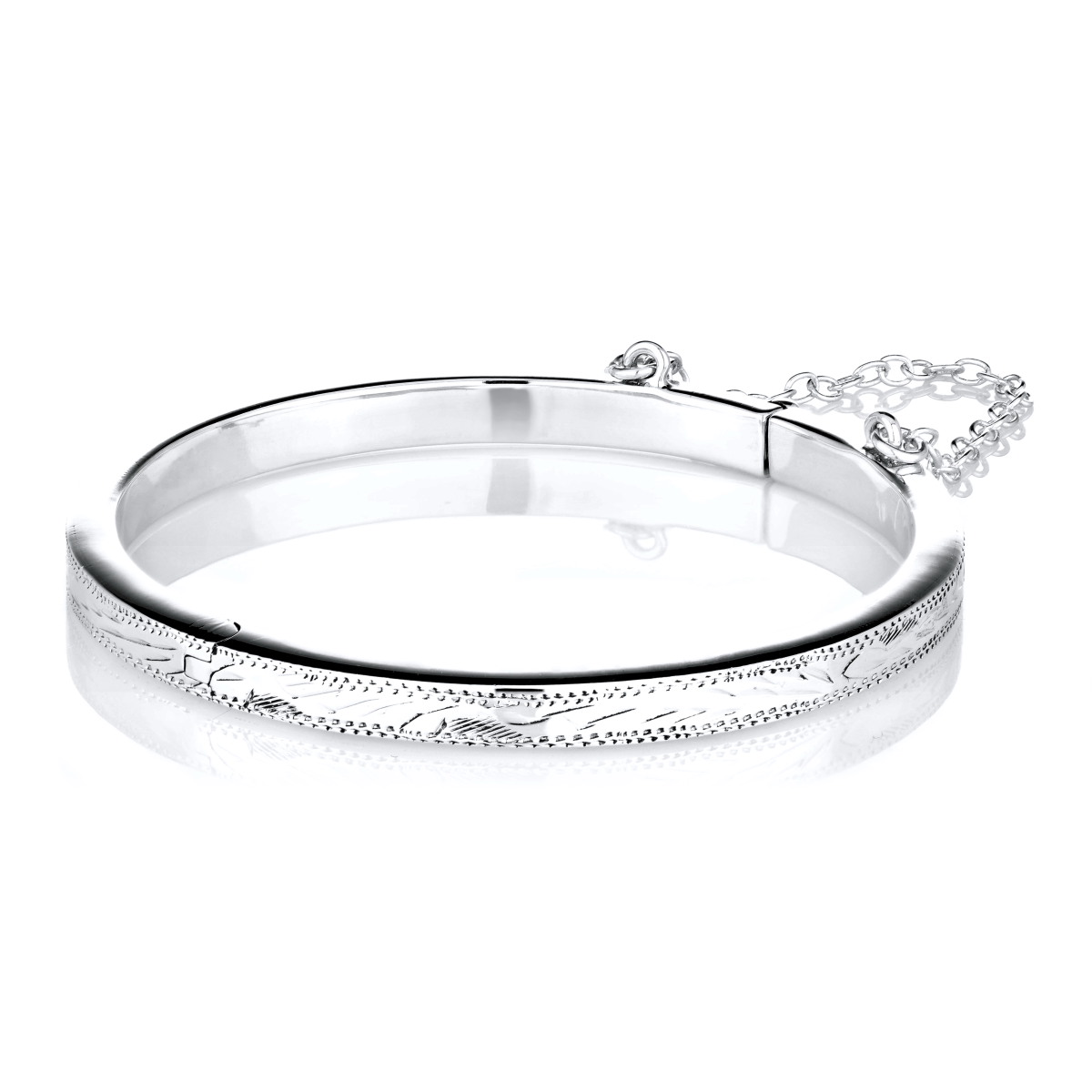 Lucy S Etched Sterling Silver Baby Bangle Bracelet 51 Mm