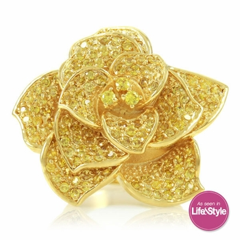 Lucy's Flower Cocktail Ring - Gold and Canary