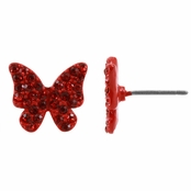 Lucy's Rhinestone Butterfly Stud Earrings - Red