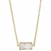 Lynn's Imitation White Rectangle Druzy Necklace