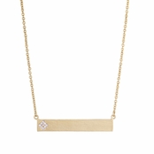 Lyzandra's 18 in Goldtone Bar Necklace with CZ Flower