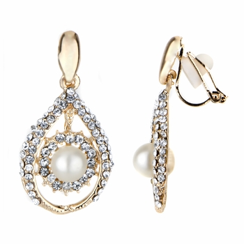 Madeline's Fancy Goldtone Imitation Pearl Tear Drop Clip On Earrings
