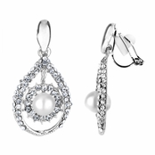 Madeline's Fancy Imitation Pearl Tear Drop Clip On Earrings