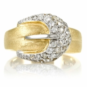 Madge's Gold Plated Pave CZ Buckle Ring