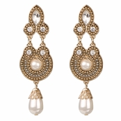 Mae's Rhinestone Pearl Bead Dangle Earrings