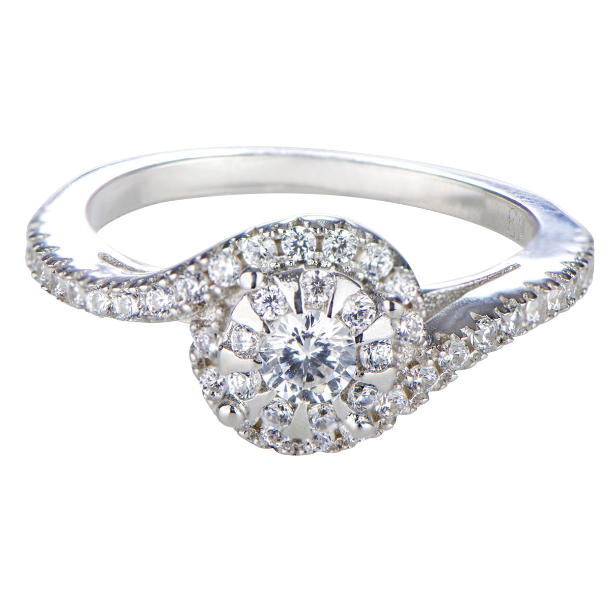 mag 39 s cubic zirconia swirl engagement ring