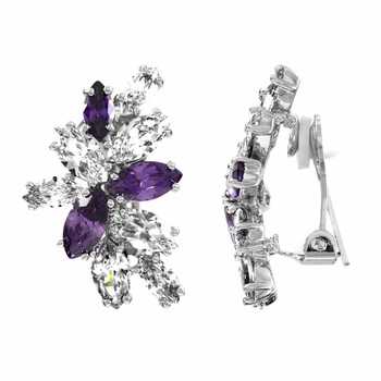 Magda's Lavender and Clear CZ Clip-on Earrings