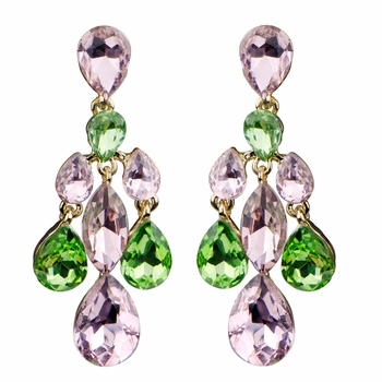 Magnolia's Rhinestone Teardrop Chandelier Earrings - Pink & Green