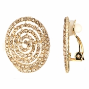 Maire's Fancy Champagne Rhinestone Spiral Button Clip On Earrings
