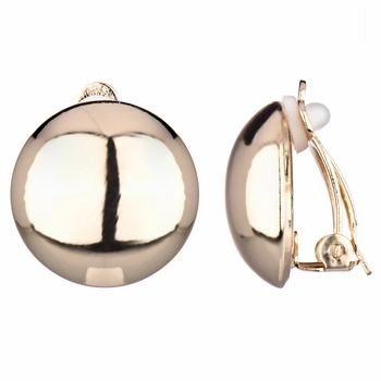 Maja's Round Goldtone Button Clip On Earrings