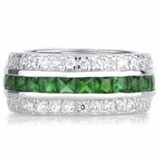 Triple Row Green CZ Eternity Band Ring