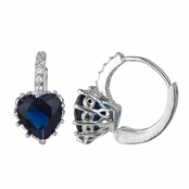 Makenzie's Simulated Sapphire Blue Cubic Zirconia Heart Leverback Earrings