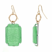 Mandee's Square Shimmer Dangle Earrings - Mint Green