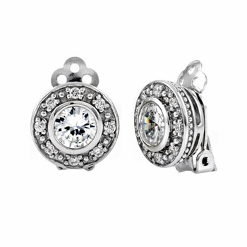 Marcy's Round Cut CZ Clipon Stud Earrings