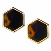 Margaret's Hexagon Goldtone Bezel Tortoiseshell Stud Earrings