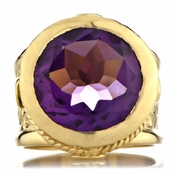 Margot's Goldtone Victorian Style Ring - Purple CZ