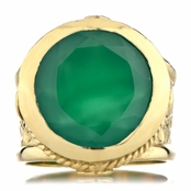 Margot's Goldtone Victorian Style Ring - Green CZ