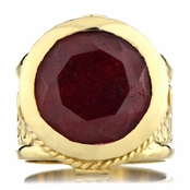 Margot's Gold Tone Victorian Style Ring - Simulated Ruby