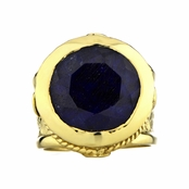 Margot's Goldtone Victorian Style Ring - Blue CZ
