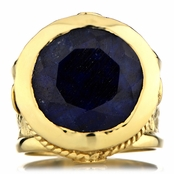 Margot's Gold Tone Victorian Style Ring - Simulated Sapphire