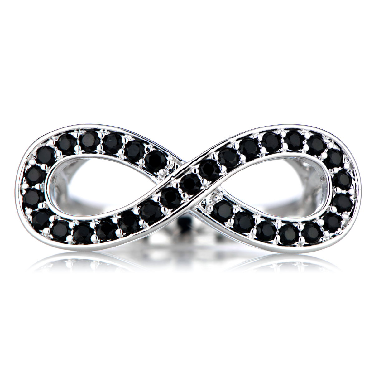 simulated black infinity ring