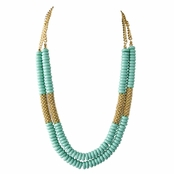 Marilyn's Turquoise bead and goldtone Layered Necklace