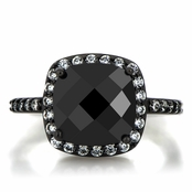 Marina's 3.8ct Cushion Cut Simulated Black Diamond Engagement Ring
