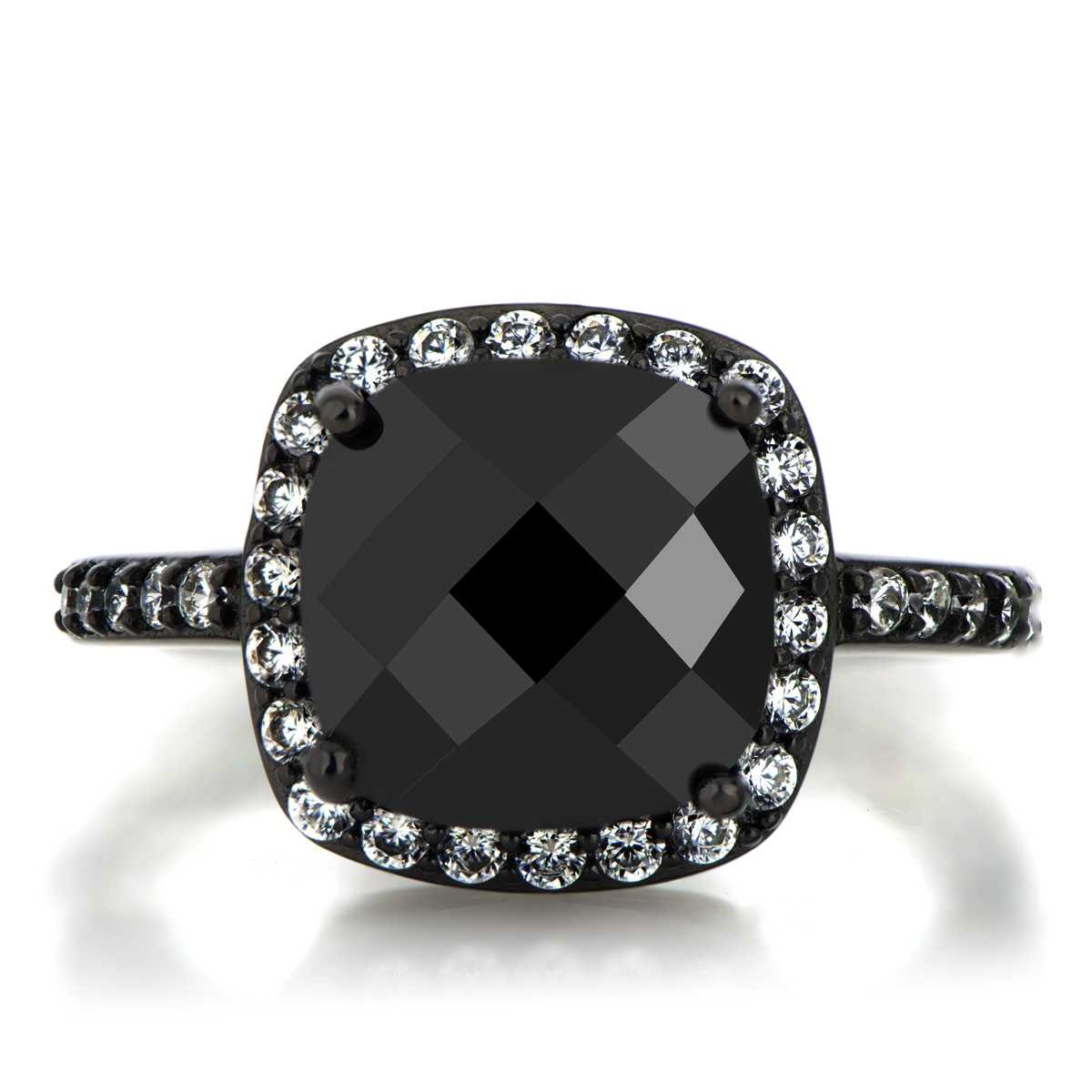 Marina s 3 8ct Cushion Cut Black CZ Engagement Ring