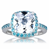 Marina's CZ Cushion Cut Engagement Ring - Blue