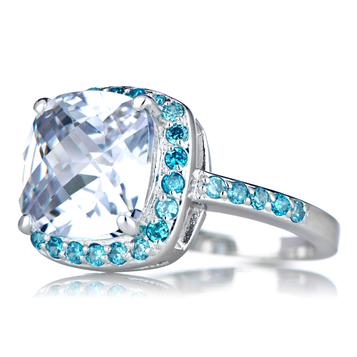 Marina s Blue CZ Cushion Cut Engagement Ring