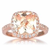 Marina's Rose Gold Tone Cushion Cut Engagement Ring - Peach CZ