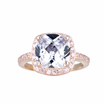 Marina's Rose Goldtone Cushion Cut Engagement Ring with Pink CZs