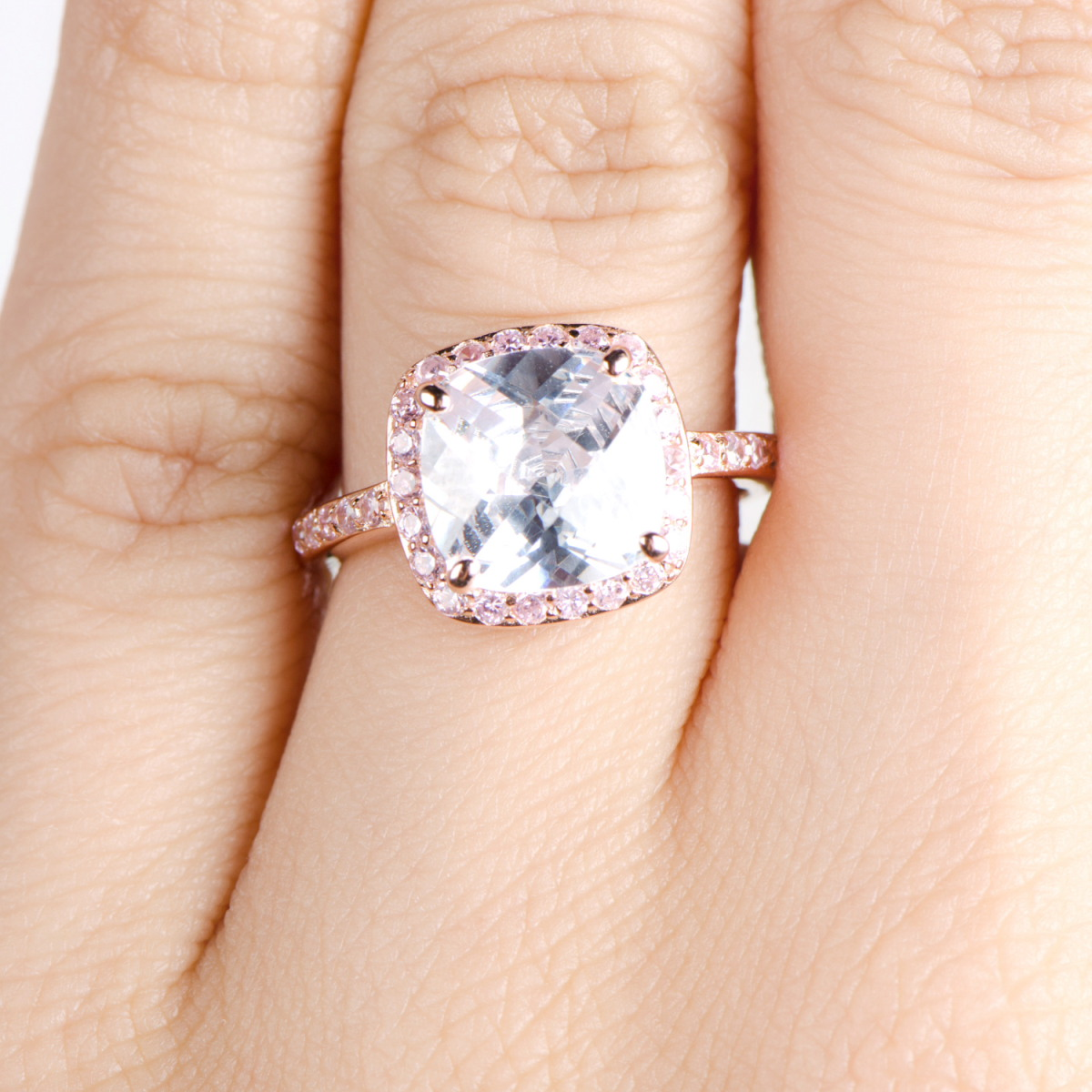 Marina s Rose Goldtone Cushion Cut Engagement Ring with Pink CZs