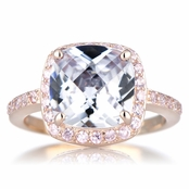 Marina's Rose Gold Tone Cushion Cut Engagement Ring with Pink CZs