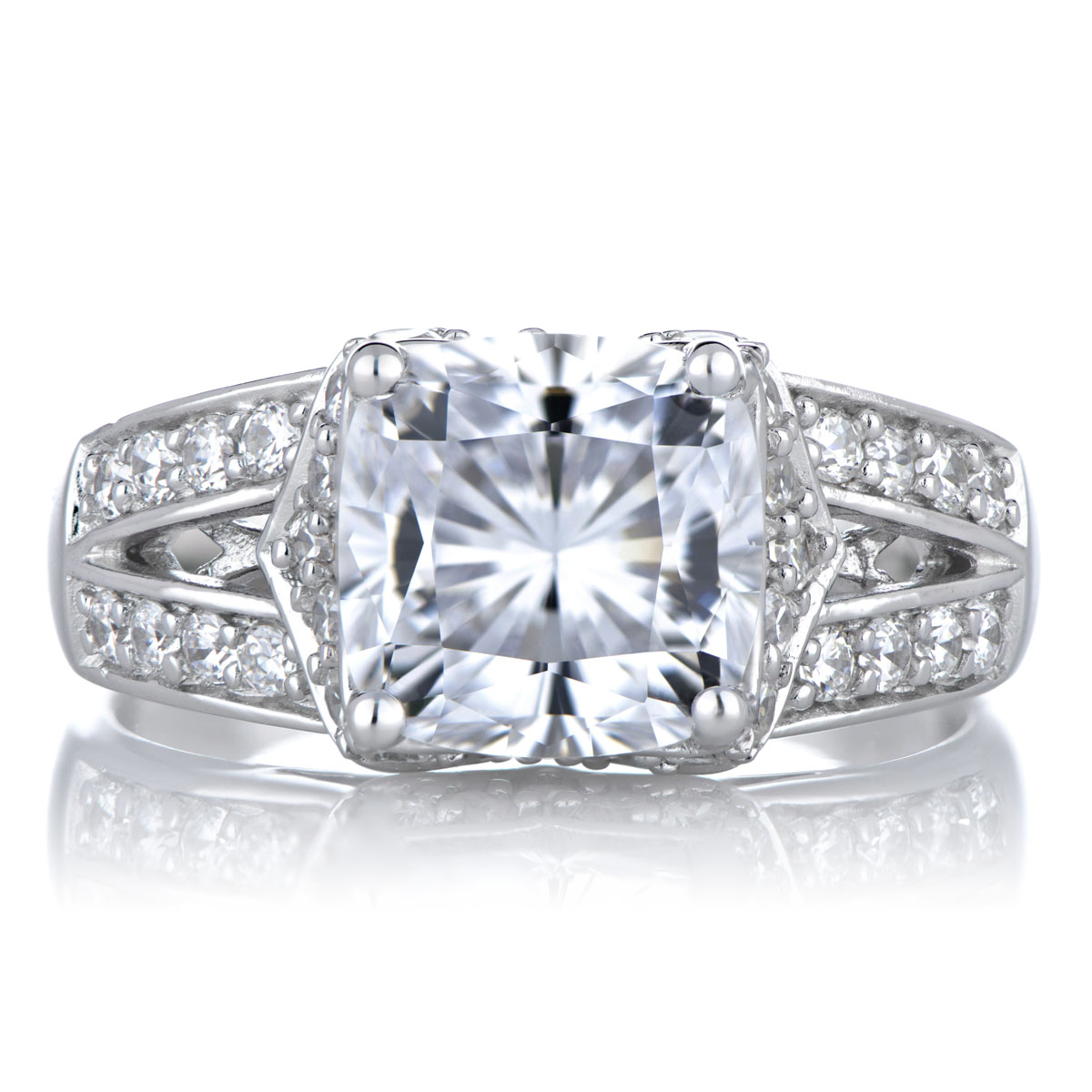 Marinel s Cushion Cut CZ Wedding Ring Set