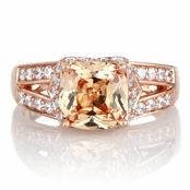 Marinel's 2ct Rose Gold Tone and Peach CZ Cushion Cut Engagement Ring