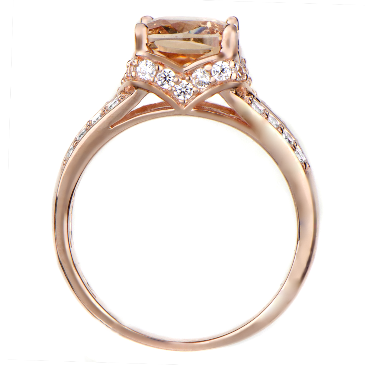 Marinel s 2ct Rose Goldtone and Peach CZ Cushion Cut Engagement Ring