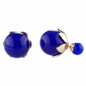 Marjorie's  Front Back Simulated Pearl Leaf Earrings - Blue