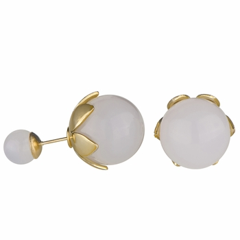 Marjorie's  Front Back Simulated Pearl Leaf Earrings - White