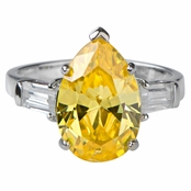 Marney's Pear Cut CZ Cocktail Ring - Canary - 5 ct