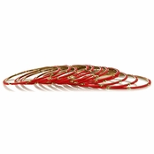 Maro's Beaded Bangle Bracelet Set - Red