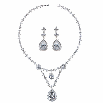 Marsha's Fancy CZ Pear Drop Necklace and Earring Set